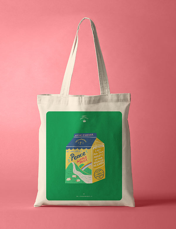 Tote bag with Bread loaf design and the theme 'Peace'