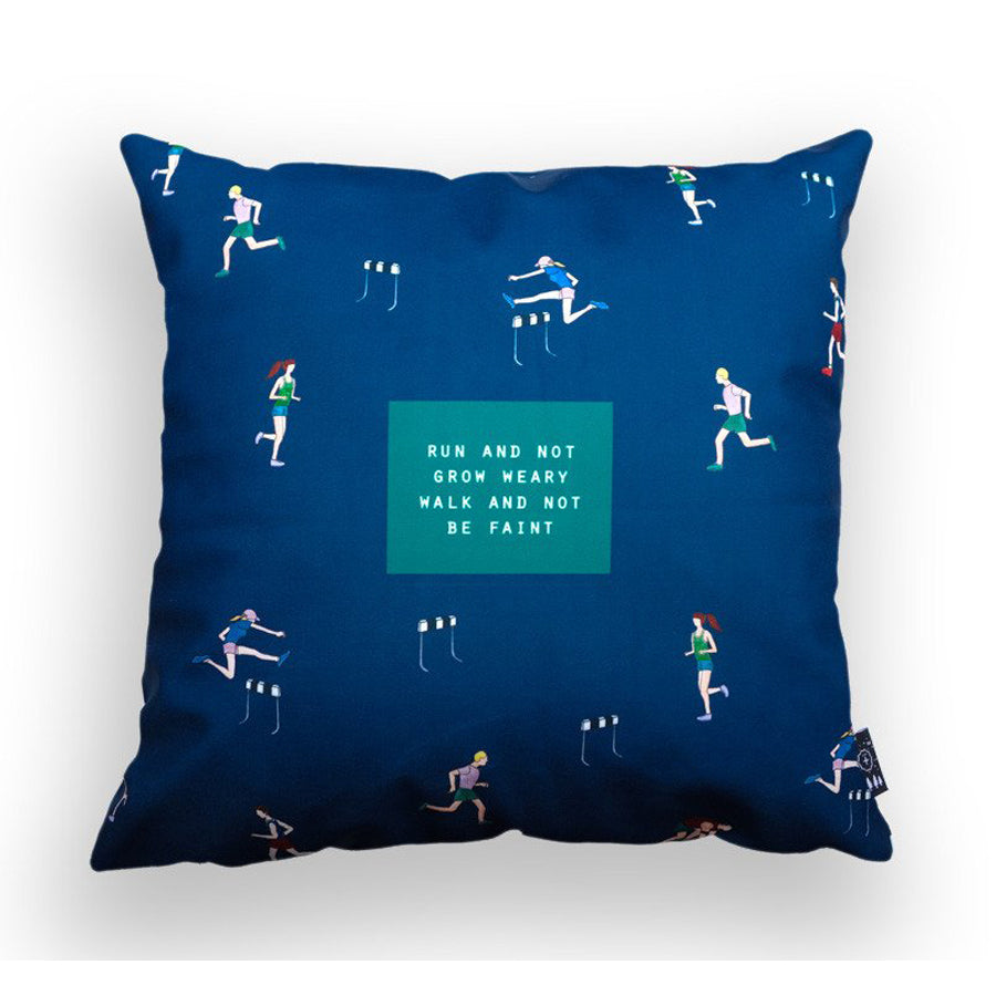 Premium 45cmx45cm pillow cover made of thick super soft velvet,  blue athletes designs. With hidden zip feature. Features verse 'Run and not grow weary walk and not be faint'.