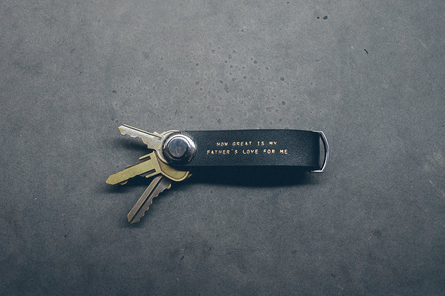 Leather key organiser : How great is my father's love for me. Gift ideas for fathers.