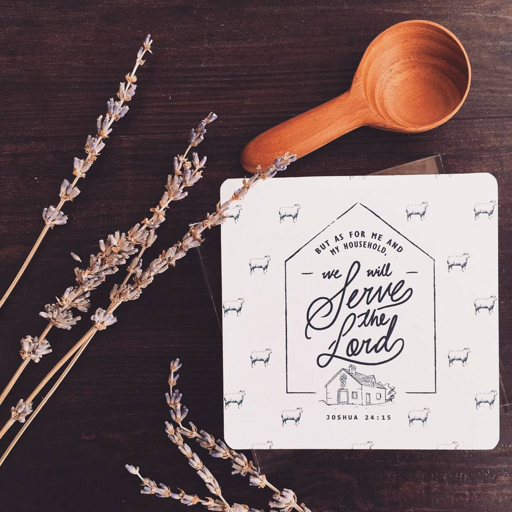 "Contemporary white wooden coaster design with inspiring bible verse ""But as for me and my household, we will serve the Lord. Joshua 24:15""."