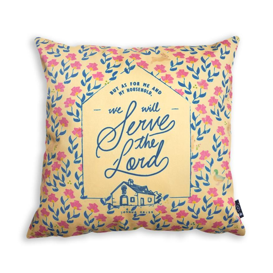 But as for me and my household, we will serve the Lord cushion cover
