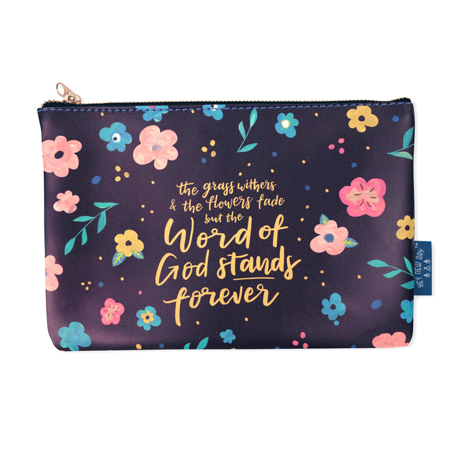 Multipurpose PU Leather pouch in blue with flowers designs on it. Features bible verse 'The grass withers and flowers fade but the word of the Lord stands forever' in yellow lettering and is great Christian gift idea. The pouch has inner lining, gold zip. Dimensions: 21cm (W) x 14cm (H)