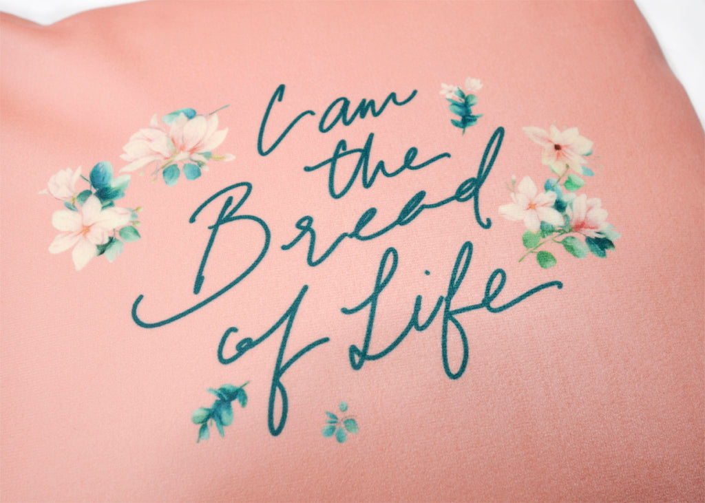 I am the bread of life cushion cover close up