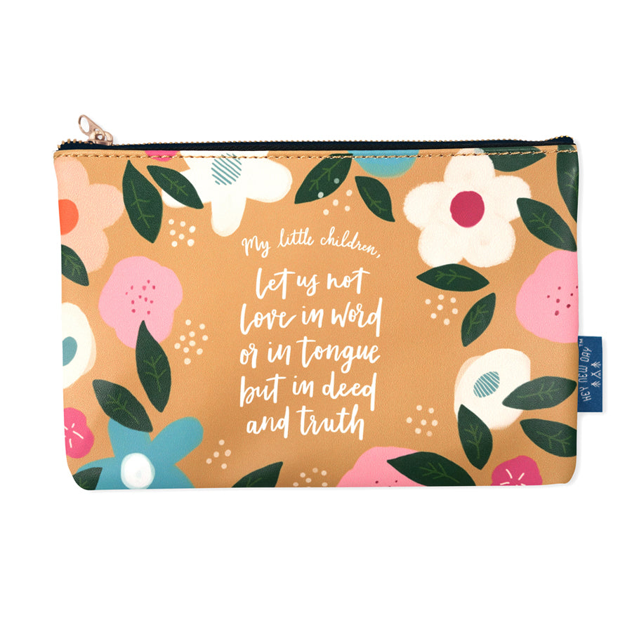 Multipurpose PU Leather pouch in orange with floral designs on it. Features bible verse 'My little children, Let us not love in word or in tongue but in deed and in truth ' in white lettering and is great Christian gift idea. The pouch has inner lining, gold zip. Dimensions: 21cm (W) x 14cm (H)