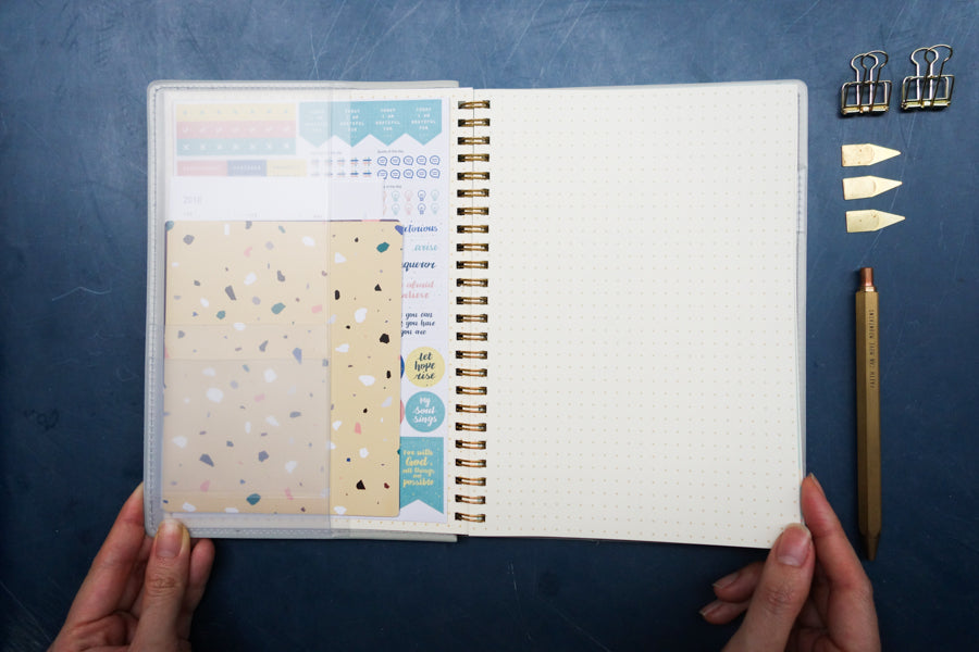 Comes with sticker sheets and terrazzo hard sheets to decorate your own planner