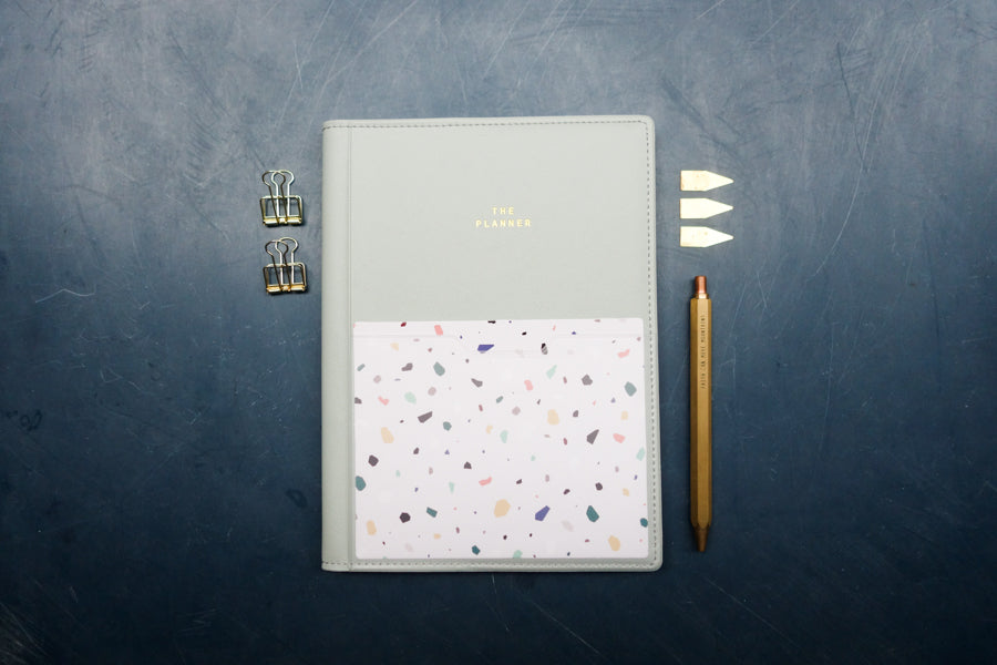planner aesthetics with brass stationeries