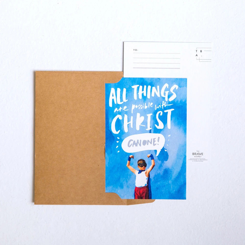 All things are possible post card with free brown envelope for easy gifting.