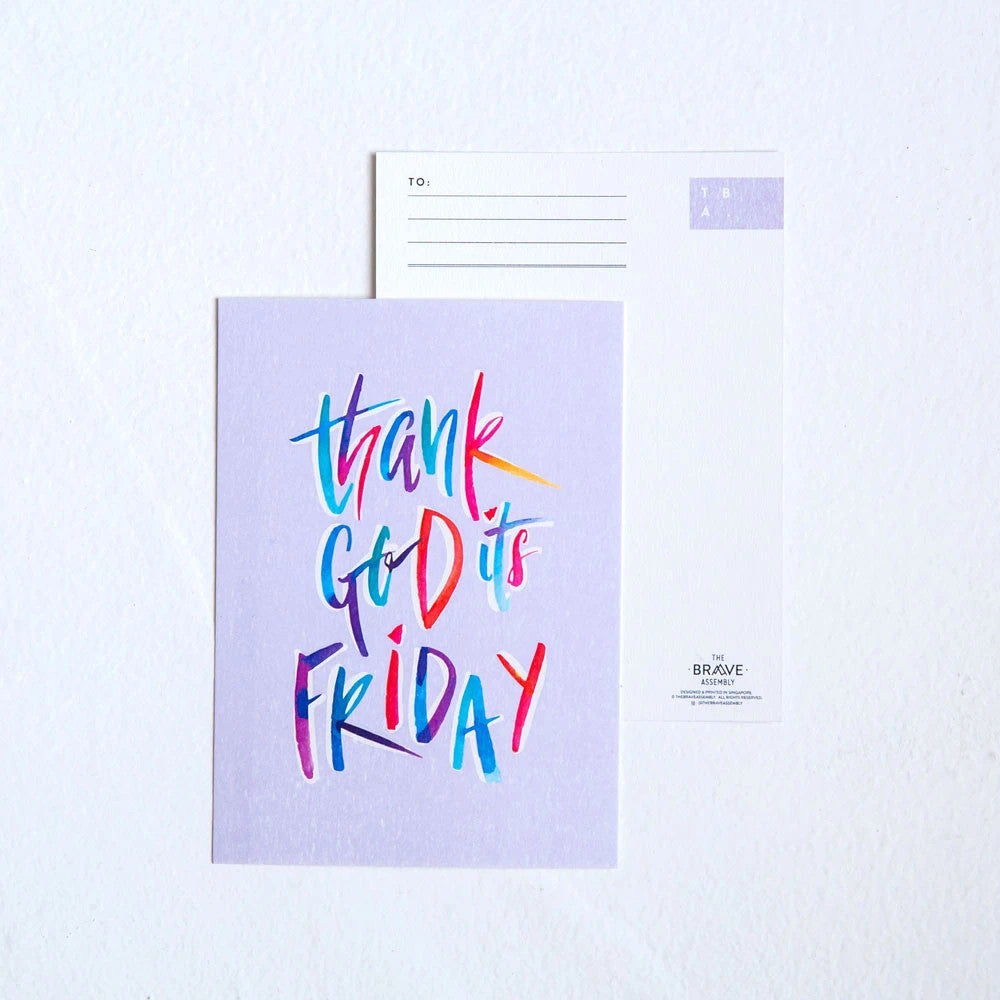 Christian verse greeting card (250GSM Maple Paper, Printed in Singapore) design: Thank God it's friday