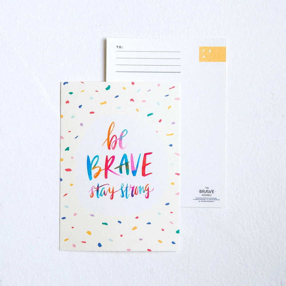 Be brave stay strong card front and back comparison