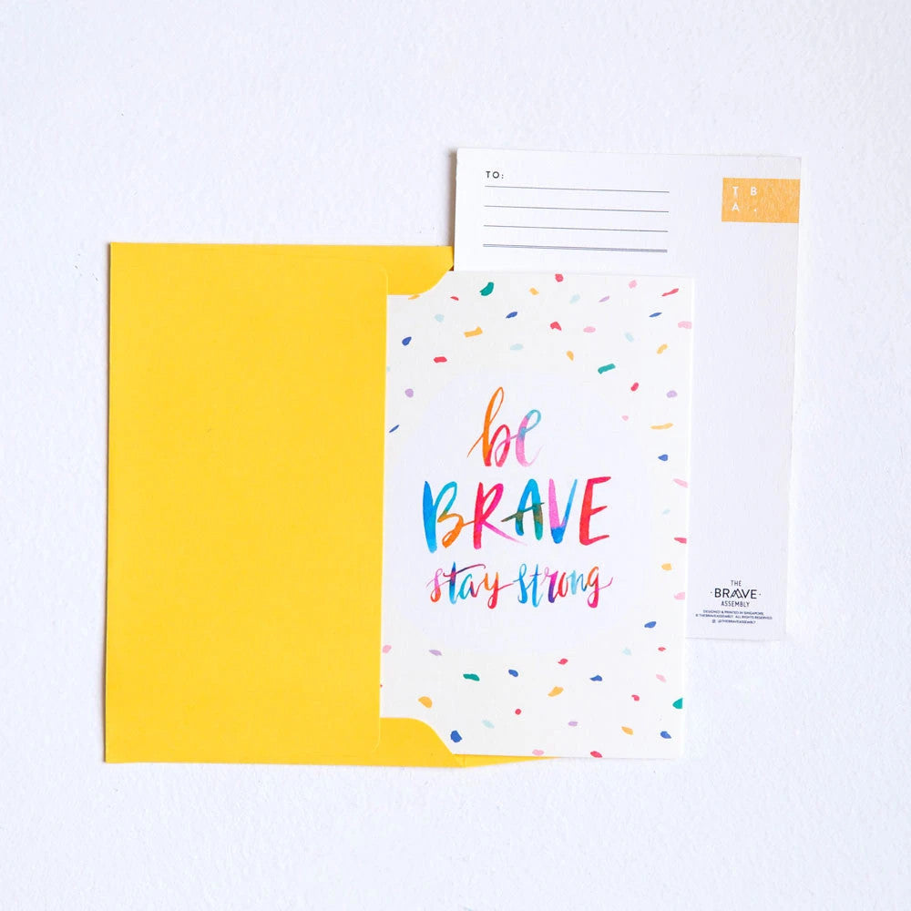 Be brave stay strong card together with free yellow envelope