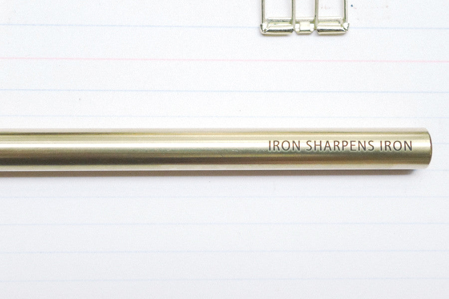 Brass pen gift for friends who inspires you to do better: Iron sharpens iron