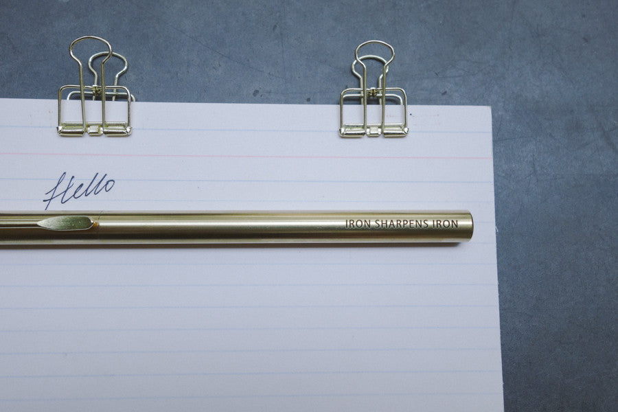 Christian gift ideas: Brass pen with engraving 'iron sharpens iron'