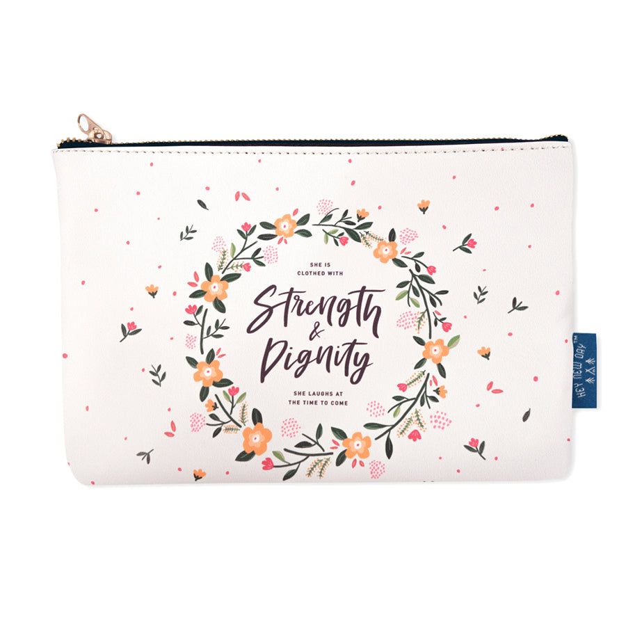 Multipurpose PU Leather pouch in cream with flowers designs on it. Features bible verse 'She is clothed with strength and dignity ' in brown lettering and is great Christian gift idea. The pouch has inner lining, gold zip. Dimensions: 21cm (W) x 14cm (H)