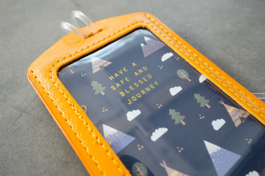 The commandment co luggage tag angels have a safe and blessed journey in orange and blue