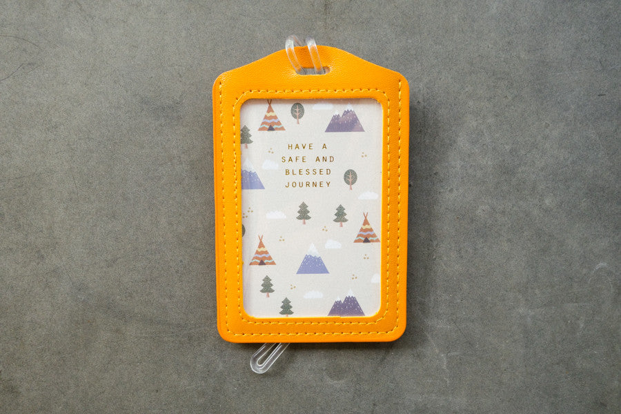 Luggage tag yellow have a safe and blessed journey