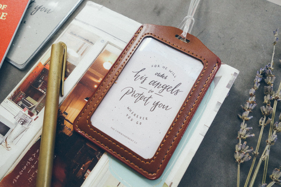 luggage tag in brown