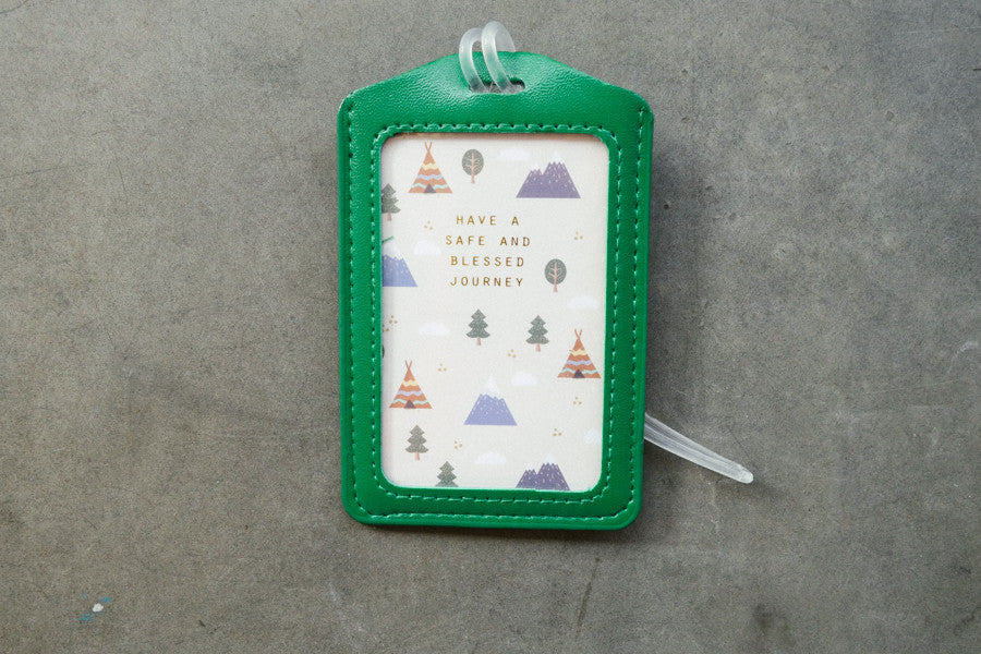 The commandment co luggage tag in green