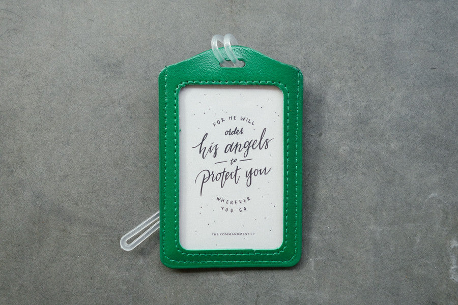 The Commandment Co luggage tag angels protect safe travel green