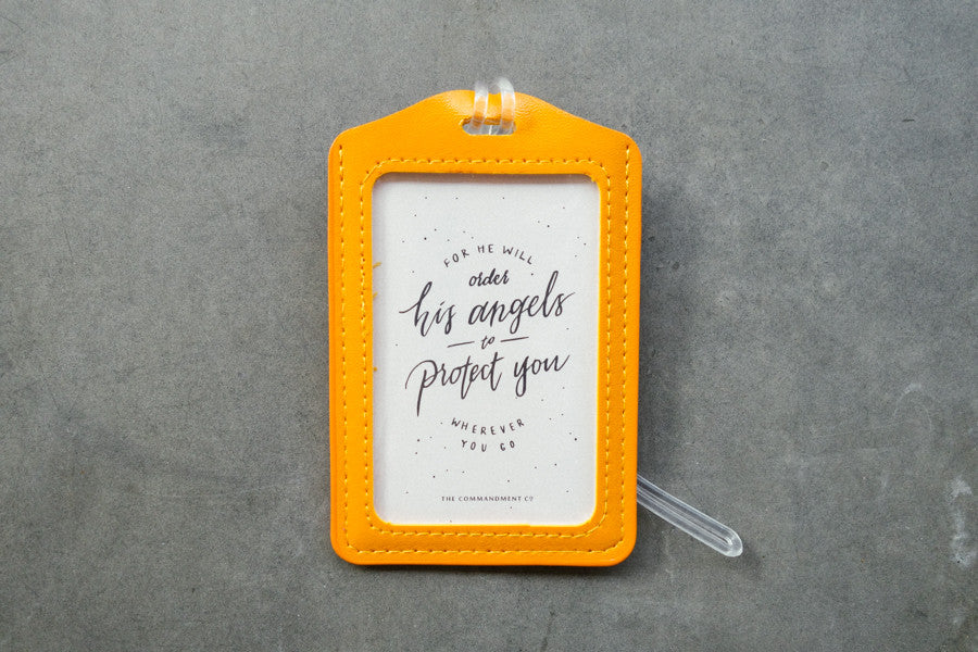 The Commandment Co luggage tag angels protect safe travel christian gift shop orange