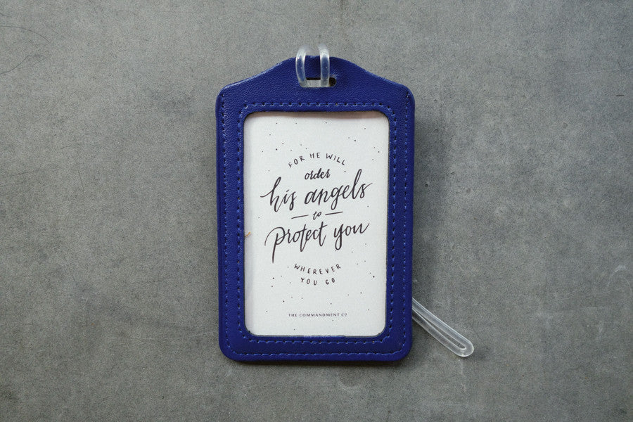 The Commandment Co luggage tag angels protect safe travel christian gift shop navy blue