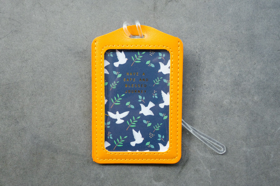 Have a safe and blessed journey luggage tag in yellow with dove designs