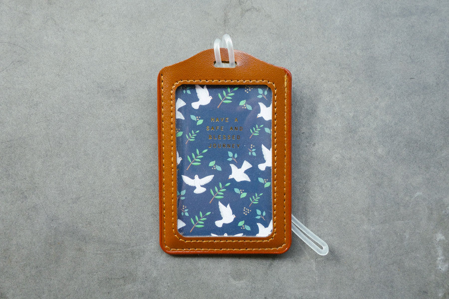 The Commandment Co brown luggage tag with dove design and motivational bible quotes ' have a safe and blessed journey.