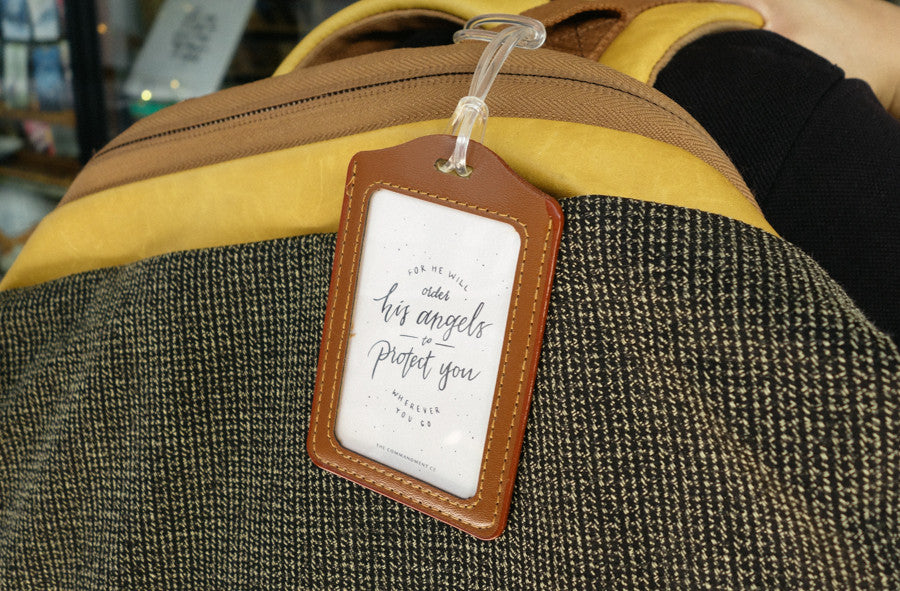 cute luggage tag in brown. Christian messages to inspire