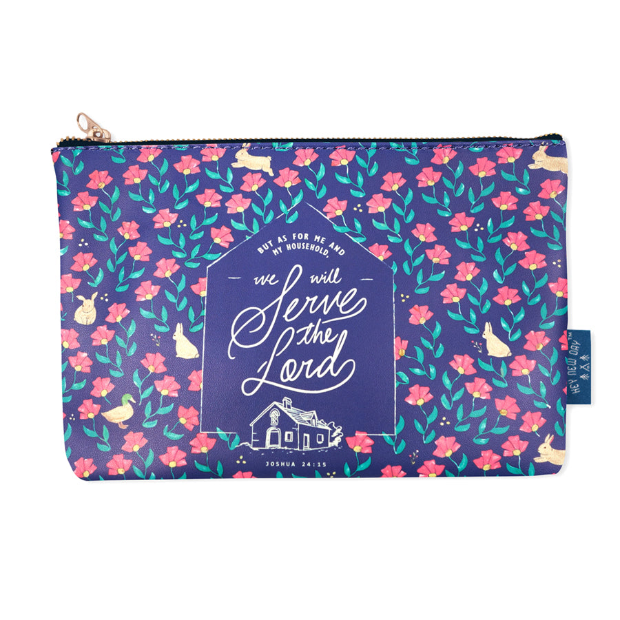 Multipurpose PU Leather pouch in blue with flowers designs on it. Features bible verse 'As for me and my family, we will serve the Lord ' in white lettering and is great Christian gift idea. The pouch has inner lining, gold zip. Dimensions: 21cm (W) x 14cm (H)'