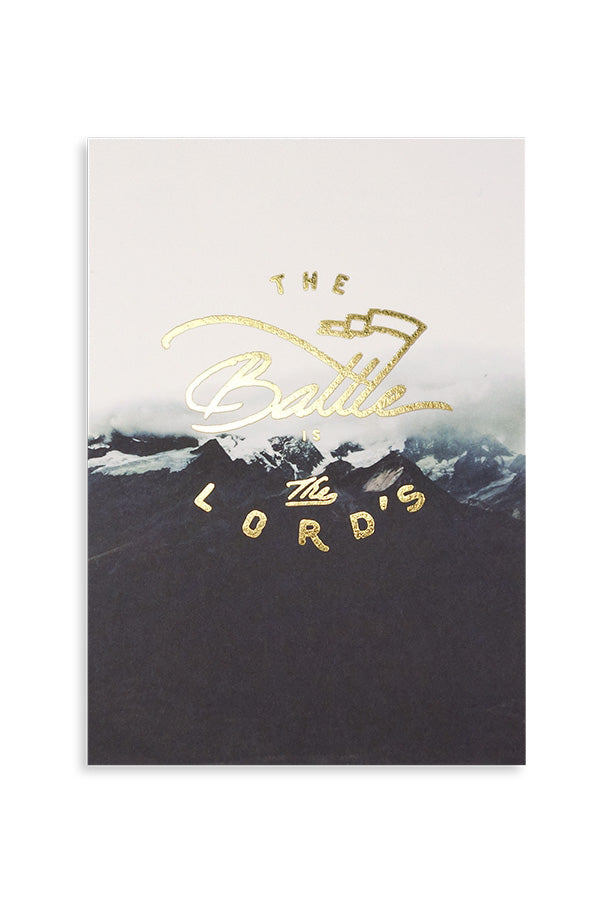 The battle is the Lord's. Contemporary Christian motivational greeting card design.