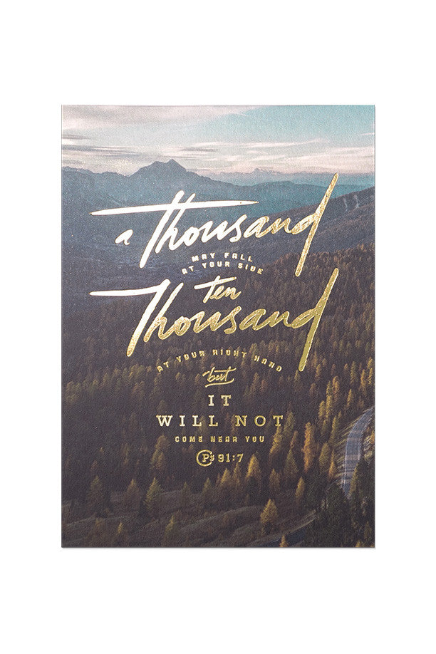 Christian verse card (Gold Stamp, 250GSM Maple Paper, Printed in Singapore) design: Psalm 91:7