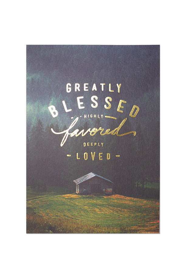 The Commandment Co  bible Verse card design Greatly blessed highly favored deeply loved. Christmas greeting card.
