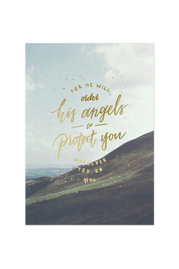 Psalm 91:11 printed on a grasshill background of a greeting card (Gold Stamp 250GSM Maple Paper)