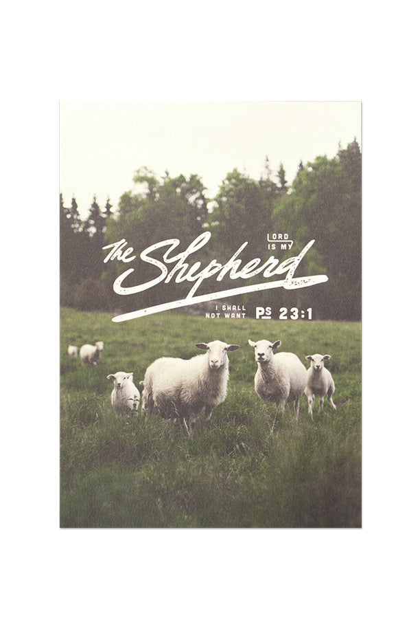 The lord is my shepherd I shall not want greeting card. Be content in the lord inspirational greeting cards