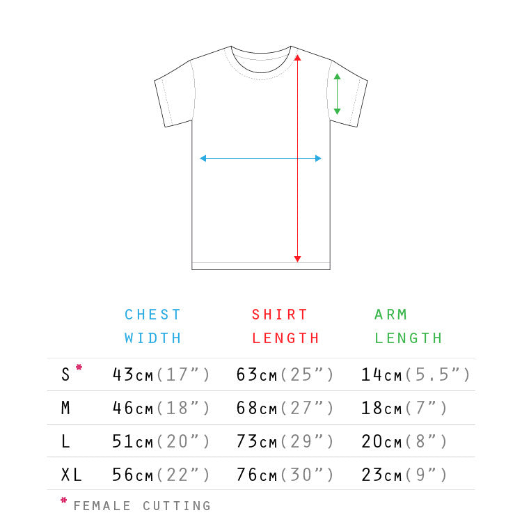 Hipster designer t shirt Singapore sizing chart | The Commandment Co