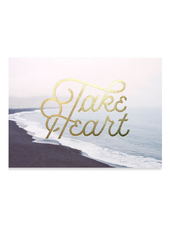 Take heart inspirational greeting card design. Designed in collaboration with Nicolas Fredrickson x The Commandment Co