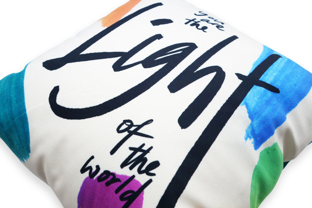 Close up of the calligraphic design of the back of the cushion