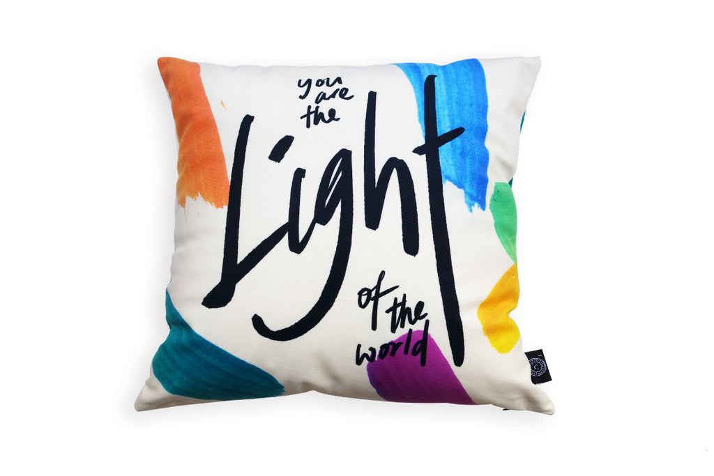 The back of the cushion cover features the same design but different quote 'you are the light of the world'