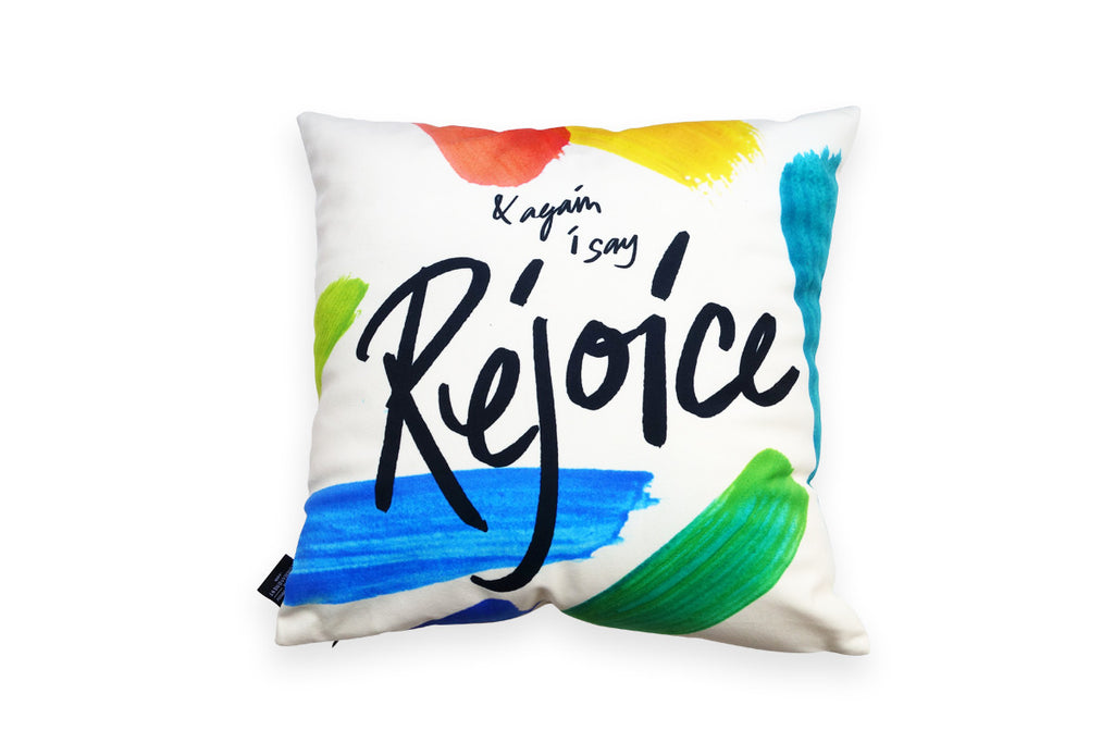 The back of the pillowcase features the same design but different wording '&again I say rejoice'
