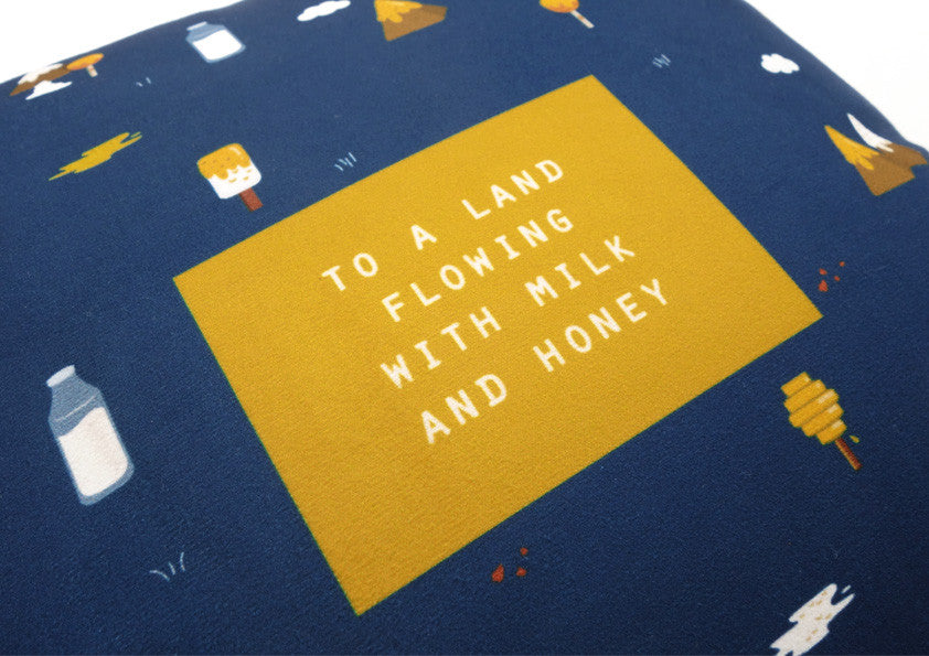 The Commandment Co A Land Flowing With Milk And Honey Cushion Cover Gifts That Inspire