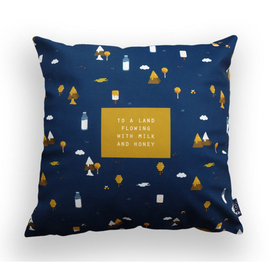 Premium 45cmx45cm pillow cover made of thick super soft velvet, navy blue with milk and honey designs. With hidden zip feature. Features verse 'To a land flowing with milk and honey'.