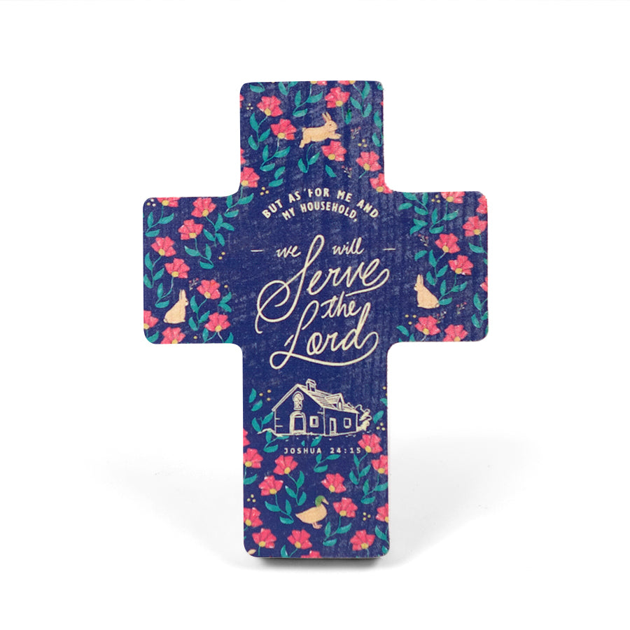Joshua 24:15 with foliage and flowers printed on pine wood. Wooden cross measurements: 8cm x 11cm.