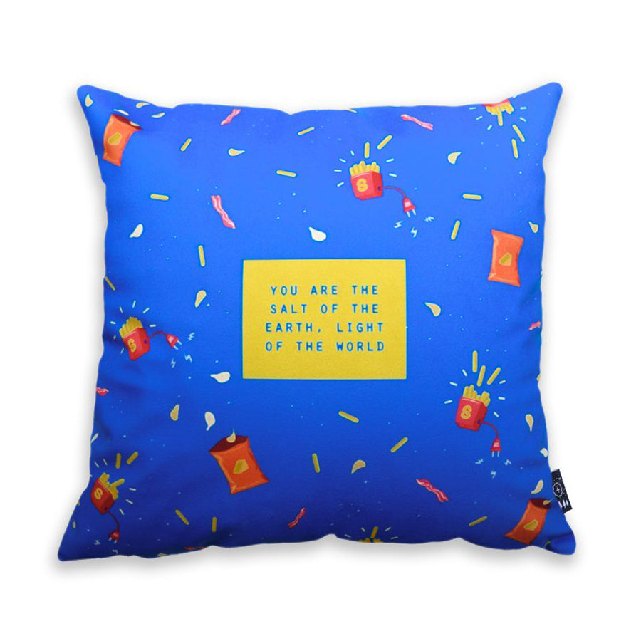 Premium 45cmx45cm pillow cover made of thick super soft velvet,  blue athletes designs. With hidden zip feature. Features verse 'You are the salt of the earth, light of the world'.
