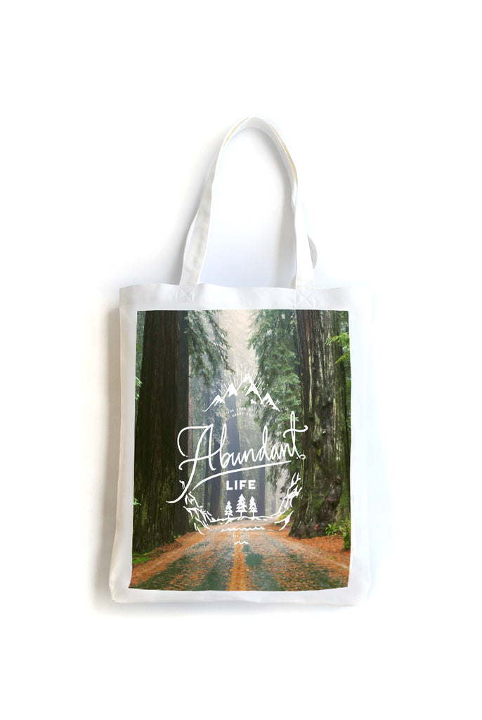 Tote bag made of 100% organic cotton from India. Features a design from John 10:10 The Lord will grant you abundant life. Measurements: 37cm (W) x 42cm (H) x 60cm (handle)