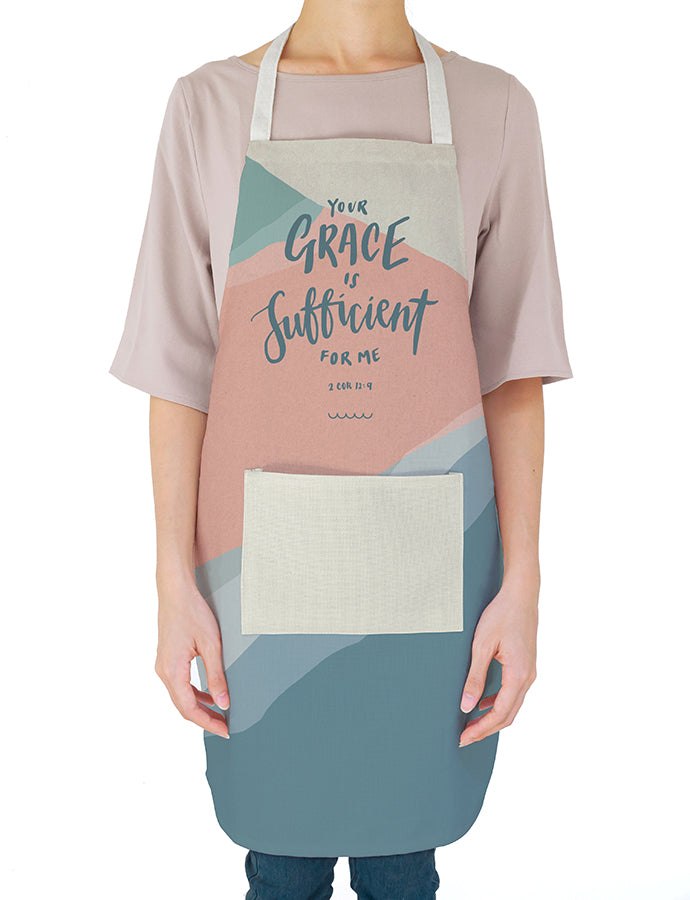 White apron with abstract details. 'Your grace is sufficient for me'. Gift it to your favourite home chef! Great mother's day gift ideas