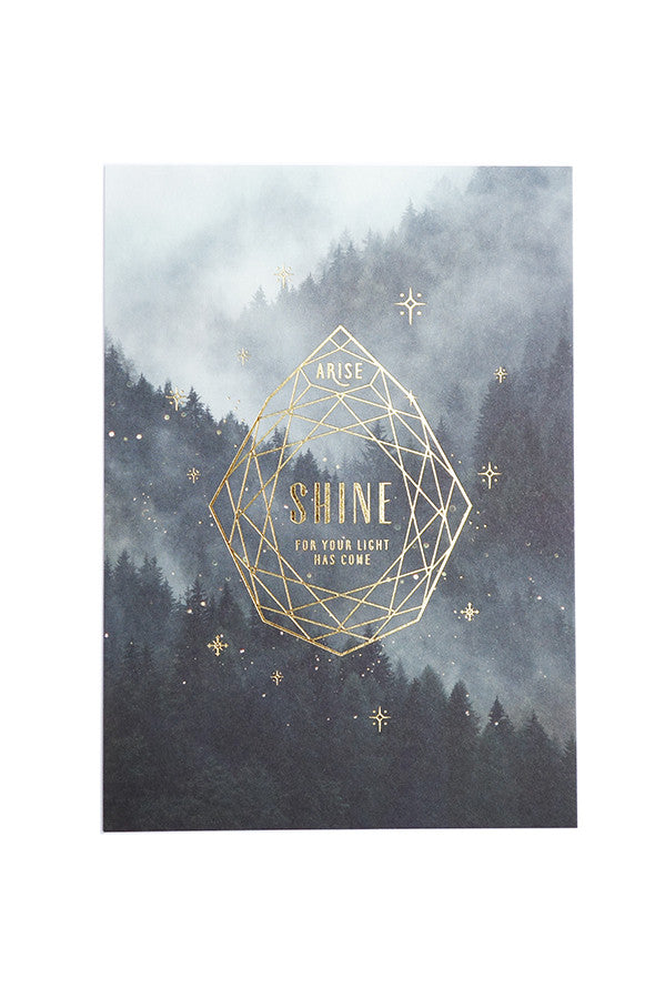 Arise shine for your light has come christian verse card. Gold Stamp, 250GSM, Maple Paper. Comes with envelope and plastic wrap. Printed in Singapore
