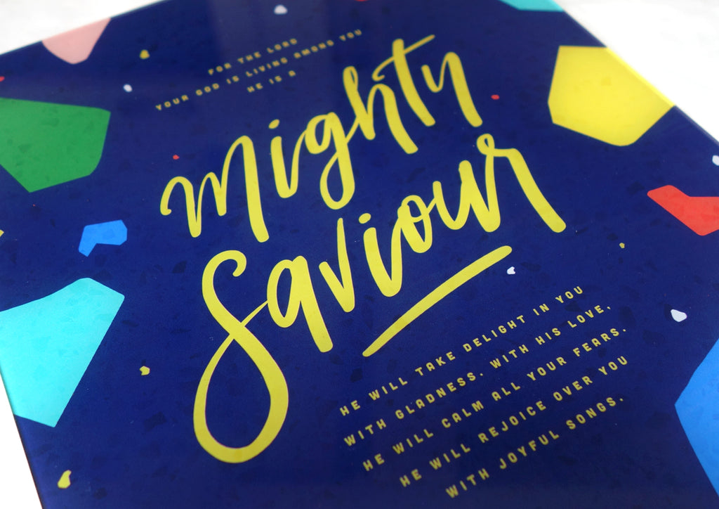 Typography and Calligraphy Words from the Bible in Navy Blue with Colourful Terrazzo Design