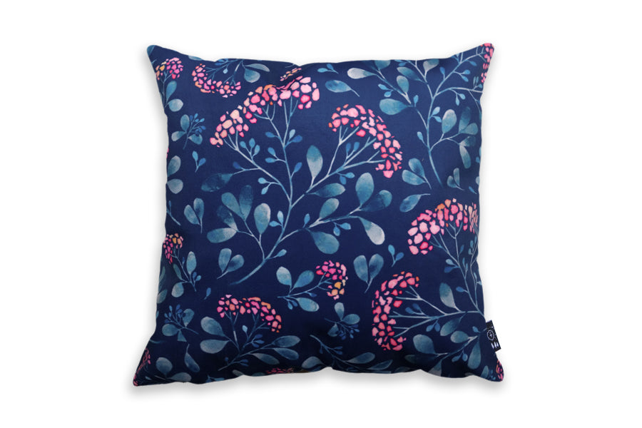 Back design of cushion cover features flowers and foliage. Great gift idea for someone who likes gardening