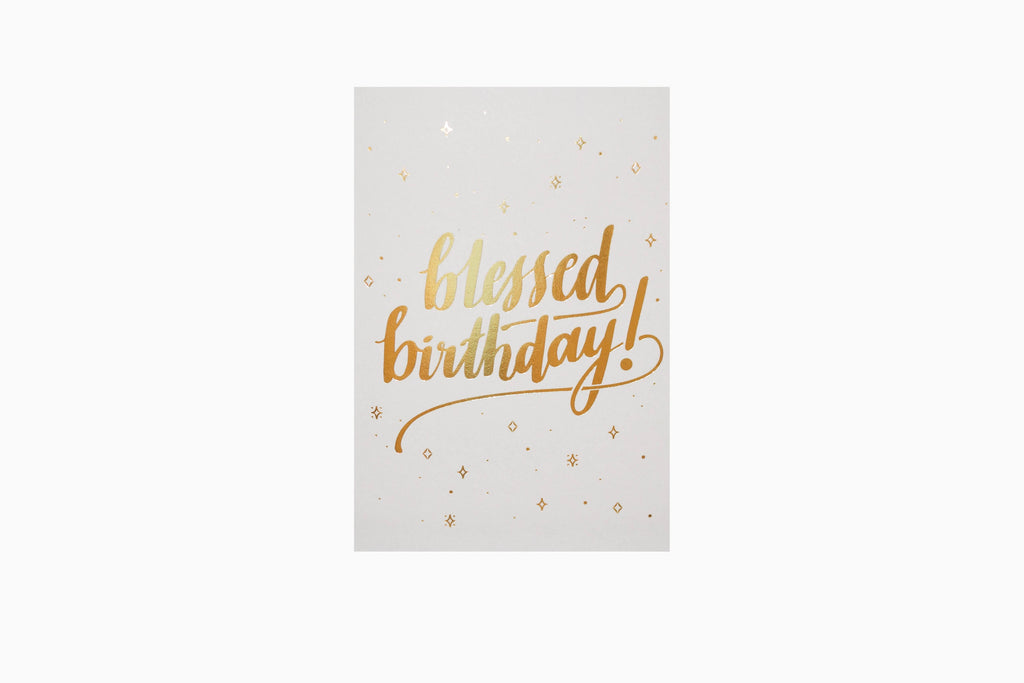 blessed birthday greeting card in grey front design