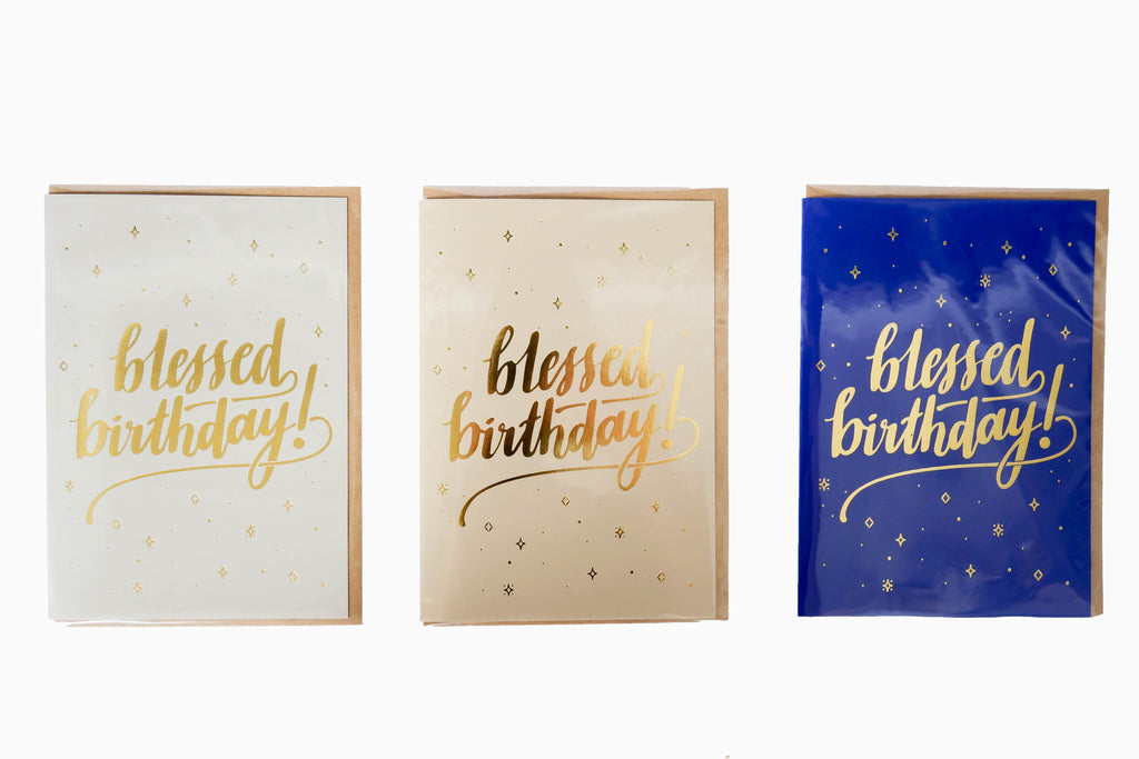 blessed birthday 3 colours greeting card front design. Available in grey, sand and blue. Birthday wishes cards. Birthday greeting card ideas