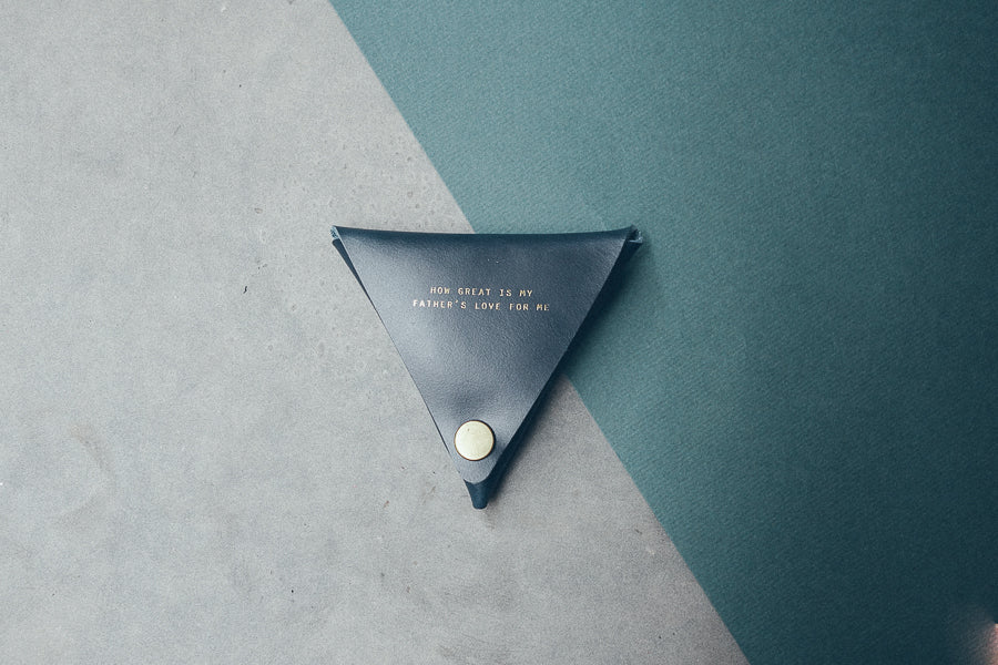 Black triangular coin pouch.  Father's day gift ideas.